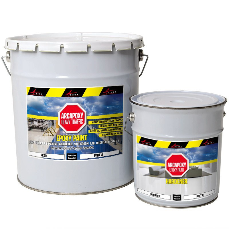 ARCAPOXY HEAVY TRAFFIC - Epoxy Paint, Floor and wall coating in factory, public parking, warehouse, lab, hospital, no solvants