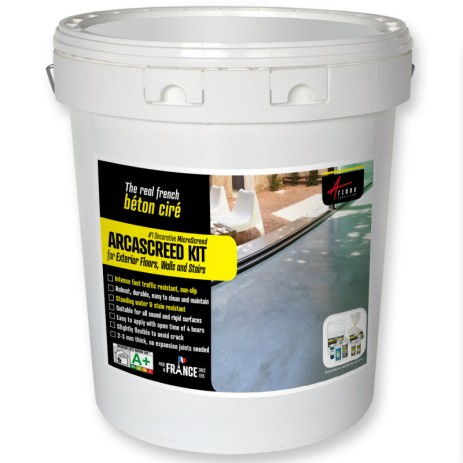 Microcement for exterior floors walls and stairs, decorative micro concrete - ARCASCREED KIT Beton cire for exterior