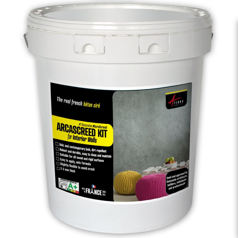 ARCASCREED KIT for interior walls, decorative microscreed, waxed concrete