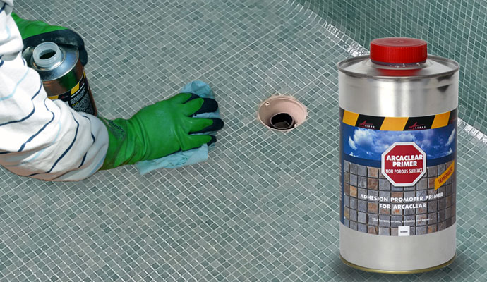 Primer for tiled pool and prepare it for waterproofing