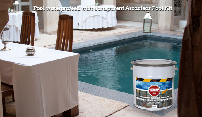 Transparent waterproofing resin Arcaclear Pool Kit for your pool pond jaccuzzi