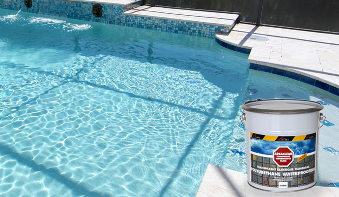 waterproofed pool with transparent resin arcaclear pool