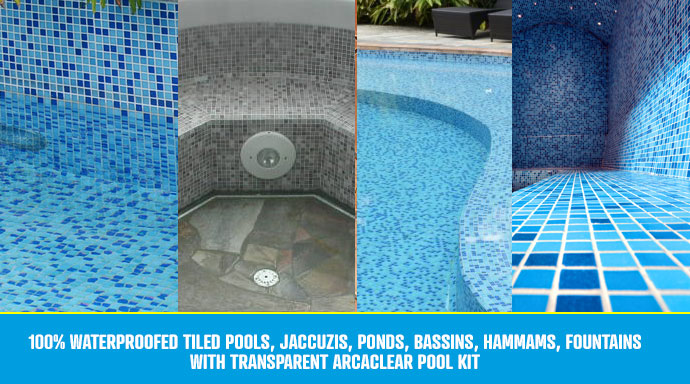 How to waterproof tiled swimming pool with transparent resin Arcaclear Pool Kit