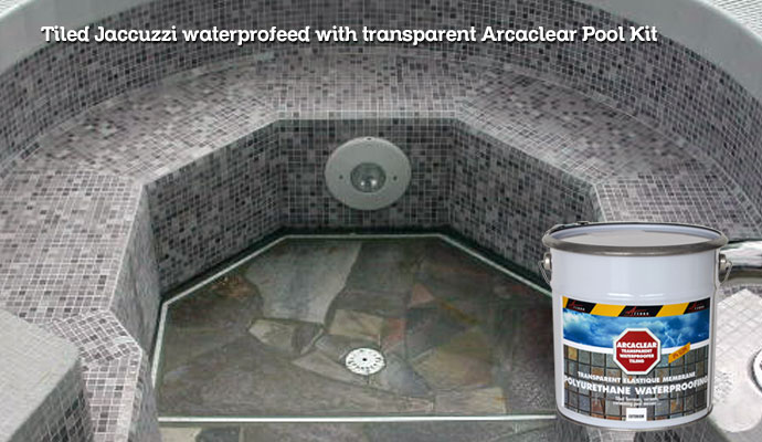 waterproof tiled jaccuzzis with transparent resin arcaclear pool kit