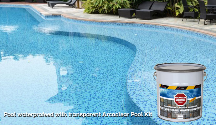 waterproofed tiled pools with Arcaclear Transparent waterproofing resin kit