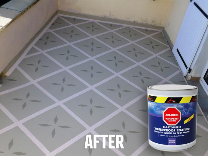 Easy to apply Arcadeck will waterproof your terrace for a very long period