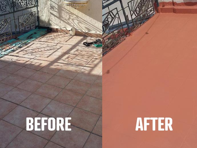 before and after apply the top leading waterproof coating arcadeck