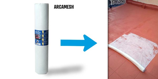 ARCAMESH is a reinforcing isotropic polyester fabric used with waterproofing resin as Arcadeck