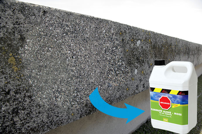 eliminate moss, algae, mildew, micro-organism killer long lasting effect arcamoss