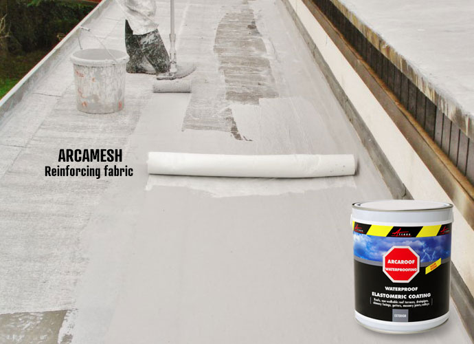 Use arcamesh reinforcing fabric with waterproof resin arcaroof