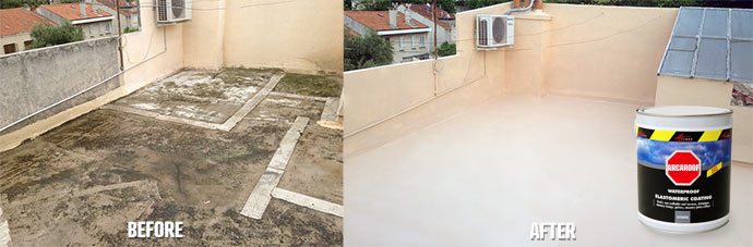 Waterproofed concrete terrace for light foot traffic with arcaroof