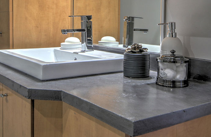 Polished Cement Arcascreed beton cire bathroom furniture