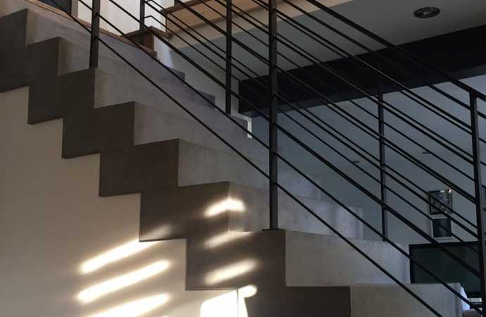 Arcascreed polished cement used in interior stairs
