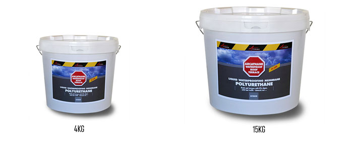 Liquid waterproof coating Arcathane available in 4kg and 15kg